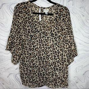 NWOT Ava & Viv Leopard Sheer Blouse